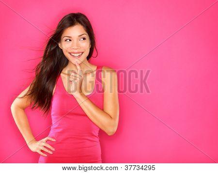 Thinking Beautiful Young Woman