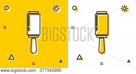 Black Adhesive Roller For Cleaning Clothes Icon Isolated On Yellow And White Background. Getting Rid