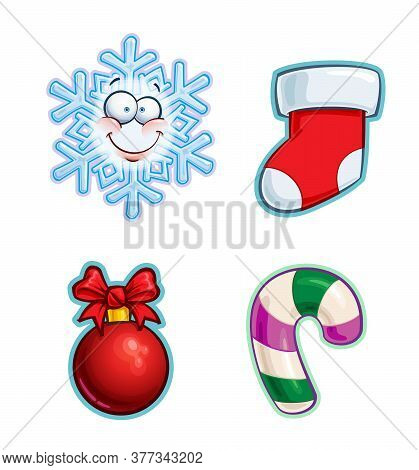 Vector Cartoon Icon Set Of A Snowflake Emoji, A Red Stocking, A Ribbon Bow Christmas Ball And A Cand