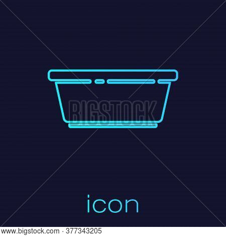 Turquoise Line Plastic Basin Icon Isolated On Blue Background. Bowl With Water. Washing Clothes, Cle