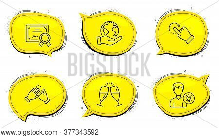 Champagne Glasses Sign. Diploma Certificate, Save Planet Chat Bubbles. Clapping Hands, Person Idea A