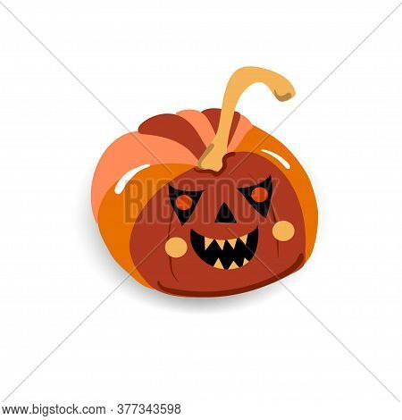 Angry Pumpkin With Emotion Bites Another Pumpkin, Halloween Character, Isolated Vector Symbol