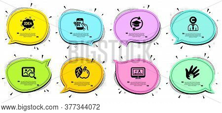 Education, Copyrighter And Social Responsibility Signs. Chat Bubbles With Quotes. Apple, Online Vide