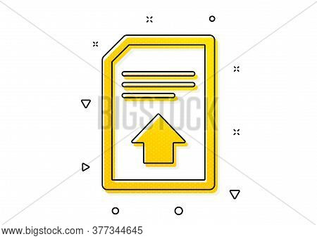 Information File Sign. Upload Document Icon. Paper Page Concept Symbol. Yellow Circles Pattern. Clas