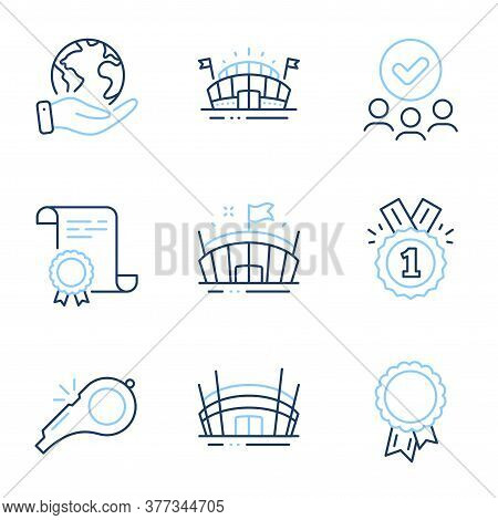 Whistle, Success And Sports Arena Line Icons Set. Diploma Certificate, Save Planet, Group Of People.