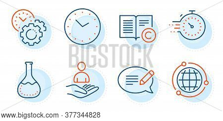 Time, Time Management And Copyright Signs. Recruitment, Globe And Timer Line Icons Set. Message, Che