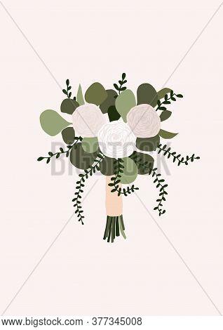Wedding Bouquet With Flowers Rose Eucalyptus Green Leaves Isolated On Light Background. Boho Bridal