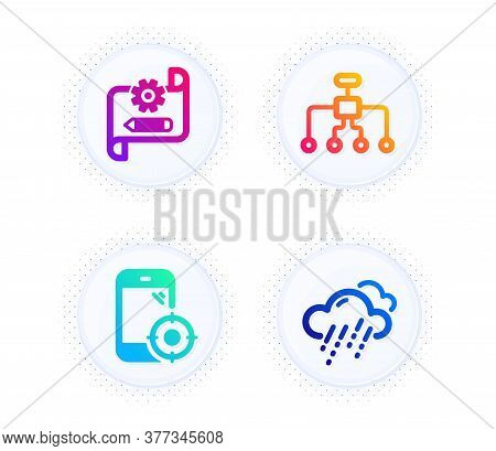 Restructuring, Seo Phone And Cogwheel Blueprint Icons Simple Set. Button With Halftone Dots. Rainy W