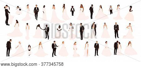Collection Of Abstract Wedding Couple Grooms And Brides In Various Pose Isolated. Multiracial Africa