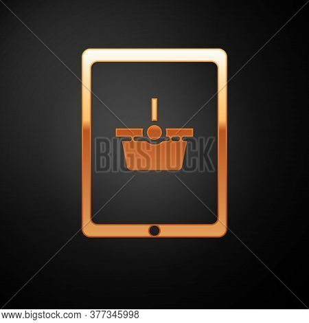 Gold Shopping Basket On Screen Tablet Icon Isolated On Black Background. Concept E-commerce, E-busin
