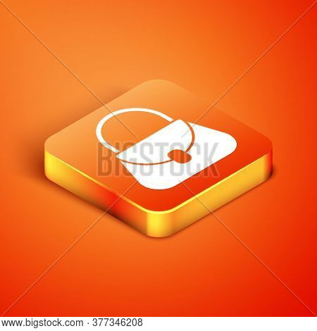 Isometric Handbag Icon Isolated On Orange Background. Female Handbag Sign. Glamour Casual Baggage Sy