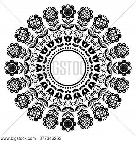 Scandinavian Retro Folk Art Vector Mandala, Floral Round Ornament, Nordic Ethnic Cute Design