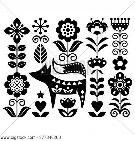 Scandinavian Cute Monochrome Folk Art Vector Design With Flowers And Fox, Floral Pattern Perfect For