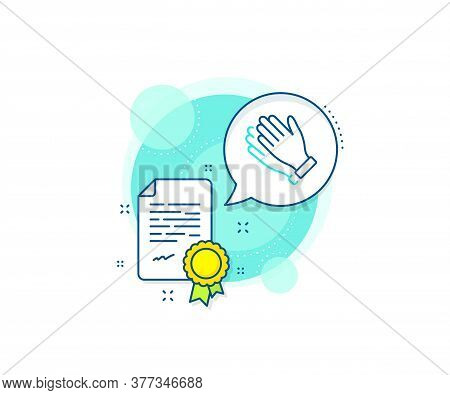 Clap Sign. Certification Complex Icon. Clapping Hands Line Icon. Victory Gesture Symbol. Certificate