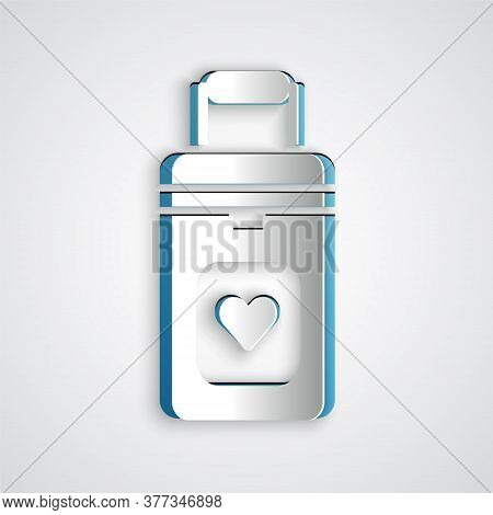Paper Cut Cooler Box For Human Organs Transportation Icon Isolated On Grey Background. Organ Transpl