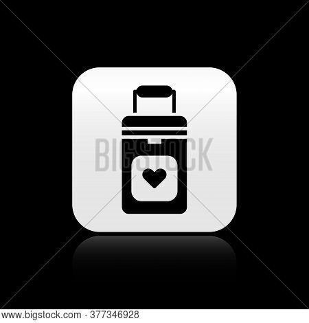 Black Cooler Box For Human Organs Transportation Icon Isolated On Black Background. Organ Transplant