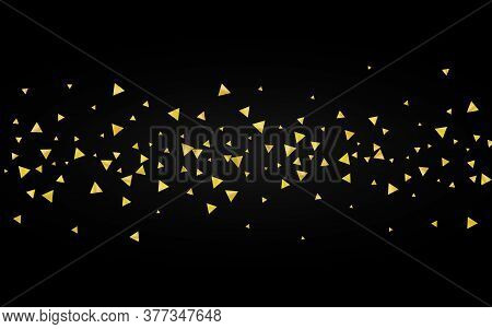Yellow Shards Paper Black Background. Glamour Sparkle Card. Golden Rain Luxury Wallpaper. Triangle F