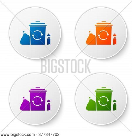Color Recycle Bin With Recycle Symbol Icon Isolated On White Background. Trash Can Icon. Garbage Bin