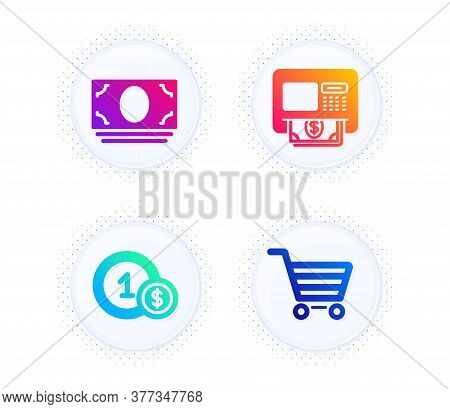Cash Money, Atm And Usd Coins Icons Simple Set. Button With Halftone Dots. Market Sale Sign. Banking