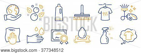 Set Of Cleaning Icons, Such As Dry T-shirt, Washing Cloth. Certificate, Save Planet. T-shirt, Cleani
