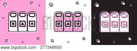 Set Trash In Garbage Cans With Sorted Garbage Icon Isolated On Pink And White, Black Background. Rec