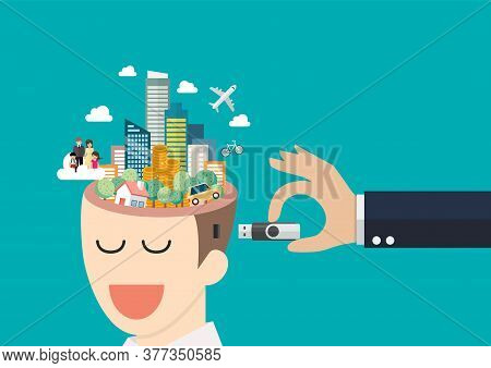Businessman Hand Holding Usb Flash Drive To Connect Other Businessman With Head Full Of Dreams. Vect
