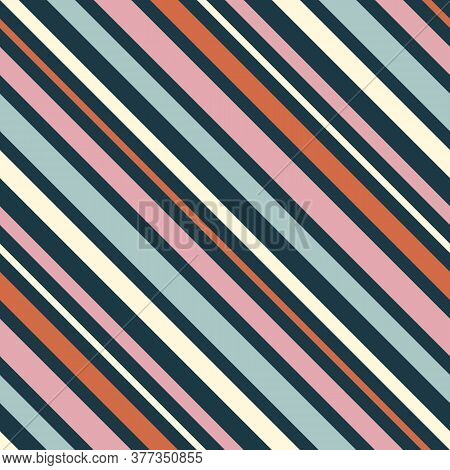 Diagonal Stripes Pattern. Simple Vector Seamless Texture With Thin Inclined Lines. Modern Abstract G