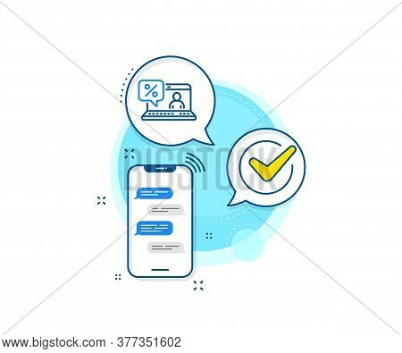Discount Sign. Phone Messages Complex Icon. Online Loan Percent Line Icon. Credit Percentage Symbol.