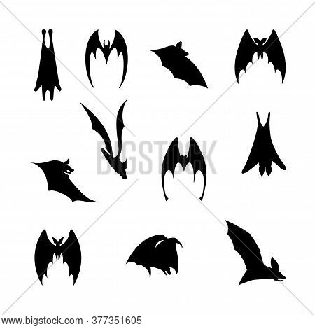 Vector Illustration Of Bats In Flight. Black Flittermouse Silhouette. Set Of Bats In Different Shape