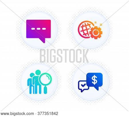 Blog, Search People And Seo Gear Icons Simple Set. Button With Halftone Dots. Payment Received Sign.