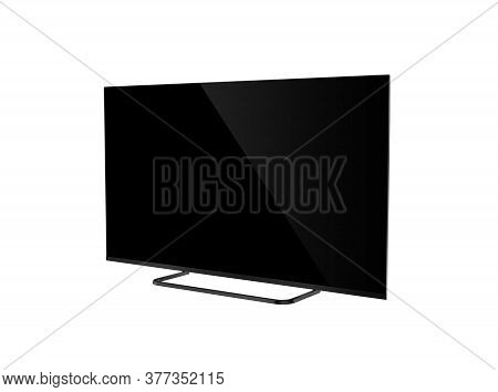 Lcd Tv With Black Screen Isolated On White Background