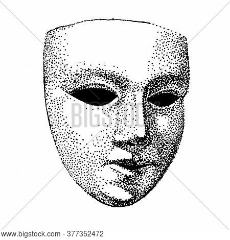 Theater Mask Tattoo Vector. Hypocrite Face. Actor Tattoo. Black And White Template. Vintage Portrait