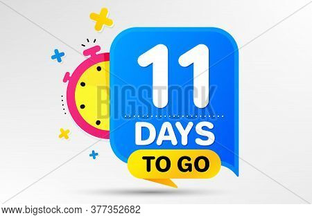 Countdown Left Days Banner With Timer. Eleven Days Left Icon. 11 Days To Go Sign. Sale Announcement