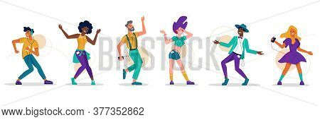 People Dance, Music Party Dancers, Vector Flat Isolated Icons. Girl Woman And Men Dancing To Music,