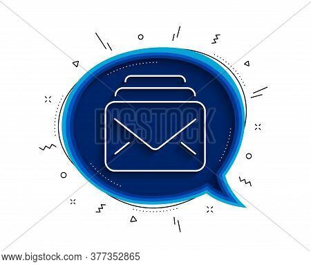 Mail Line Icon. Chat Bubble With Shadow. New Messages Correspondence Sign. E-mail Symbol. Thin Line