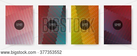 Zig Zag Lines Halftone Banner Templates Set, Vector Backgrounds For   Booklet Covers. Minimalistic Z