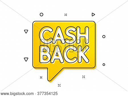Money Transfer Sign. Cashback Service Icon. Speech Bubble Symbol. Yellow Circles Pattern. Classic Mo