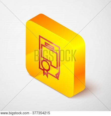 Isometric Line Certificate Template Icon Isolated On Grey Background. Achievement, Award, Degree, Gr