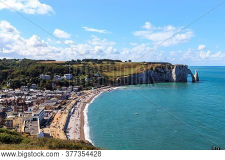 Etretat, France - September 1, 2019: This Is A View Of The Beach Of City And D'aval Cliff.