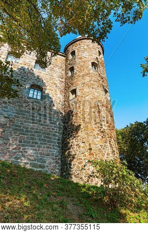 Stone Tower Of Vyborg Castle, City Of Vyborg, Leningrad Region, Russia. August 2018. Architectural C