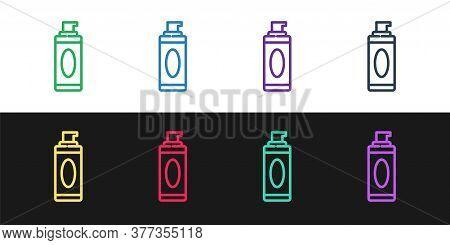 Set Line Shaving Gel Foam Icon Isolated On Black And White Background. Shaving Cream. Vector Illustr