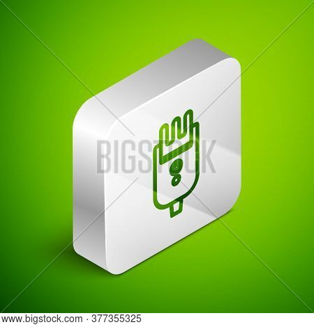 Isometric Line Electrical Hair Clipper Or Shaver Icon Isolated On Green Background. Barbershop Symbo