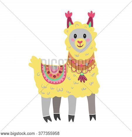 Cute Vector Yellow Lama Alpaca Isolated On White