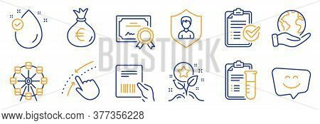 Set Of Business Icons, Such As Ferris Wheel, Swipe Up. Certificate, Save Planet. Parcel Invoice, Sur