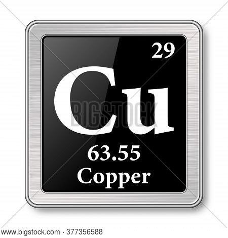 Copper Symbol.chemical Element Of The Periodic Table On A Glossy Black Background In A Silver Frame.