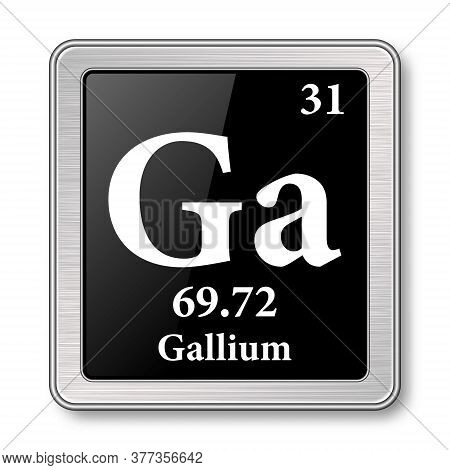 Gallium Symbol.chemical Element Of The Periodic Table On A Glossy Black Background In A Silver Frame
