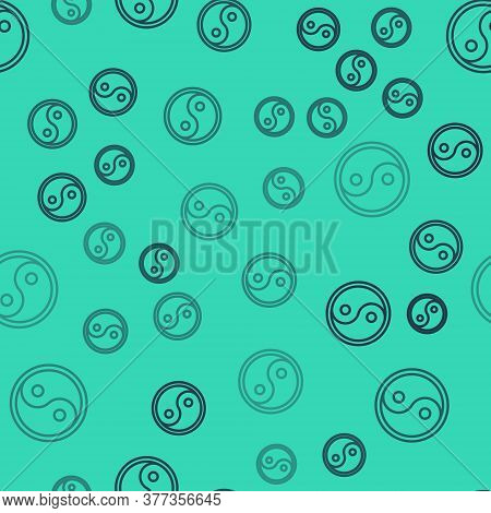 Black Line Yin Yang Symbol Of Harmony And Balance Icon Isolated Seamless Pattern On Green Background