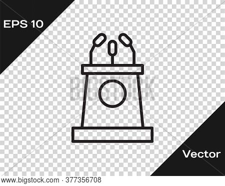 Black Line Stage Stand Or Debate Podium Rostrum Icon Isolated On Transparent Background. Conference