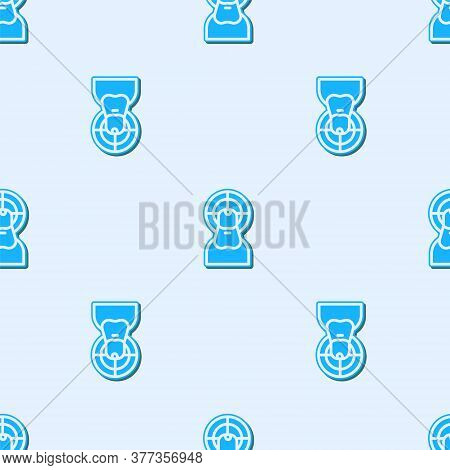 Blue Line Jesus Christ Icon Isolated Seamless Pattern On Grey Background. Vector Illustration