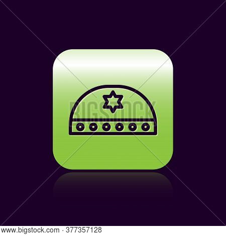Black Line Jewish Kippah With Star Of David Icon Isolated On Black Background. Jewish Yarmulke Hat.